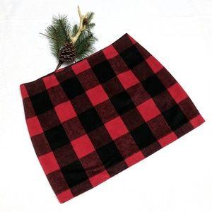 Boston Proper: Red Buffalo Plaid Wool Skirt